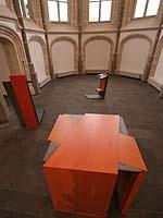 Ein Beispiel für kirchliche Kunst : die Prinzipalstücke in der Kirche Moers-Repelen. Gestaltet hat sie der Künstler Tobias Kammerer.