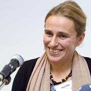 Energie und Visionen: Irene Diller, Theologin im Frauenreferat der Evangelischen Kirche im Rheinland, hier beim Rheinischen Frauenmahl in Düsseldorf, 2011.