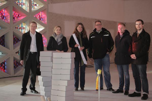 Besuch der Baustelle Johanneskirche: (von links) Dr. Stefan Flesch, Gudrun Gotthardt, Bettina Kaiser, Werner Maliska, Andreas Reuber und Marwin Burkhard.