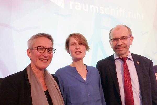 Freuen sich über den Start von 'raumschiff.ruhr': Superintendentin Marion Greve, Projektleiterin Rebecca John Klug und Präses Manfred Rekowski.