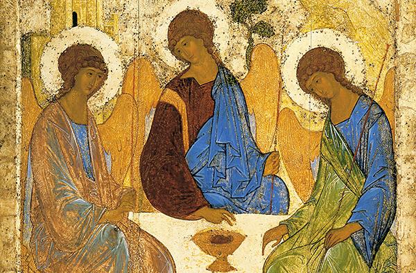 Gemalte Verkündigung: Ausschnitt der Dreifaltigkeitsikone von Andrej Rublev, um 1360-1430.