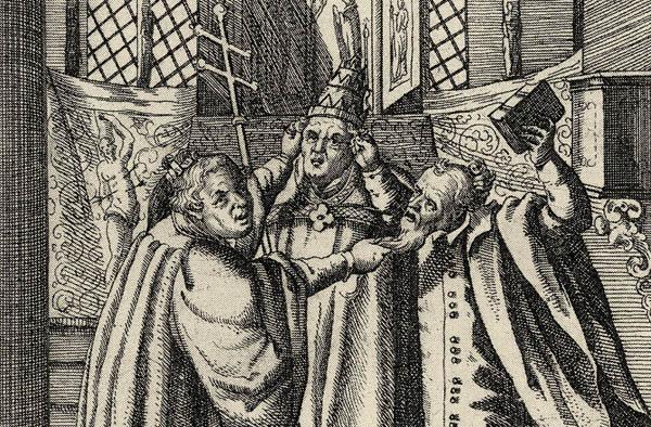 Toleranz? Weit gefehlt, im Jahr 1619 liefern sich Luther (v.l.), Papst und Calvin einen 'Geistlichen Raufhandel' (Auschnitt).