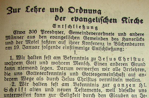 Zeitgenössischer Zeitungsbericht: Die 'Hunsrücker Zeitung' über die Hunsrücker Konferenz am 19. Januar 1934.