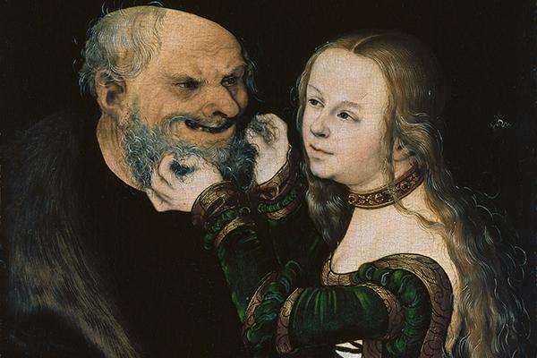 'Das ungleiche Paar' von Lucas Cranach dem Älteren, Ausschnitt, um 1530, Malerei auf Buchenholz, 38,8 × 25,7 cm  Museum Kunstpalast, Dauerleihgabe der Kunstakademie Düsseldorf  Foto: Museum Kunstpalast – ARTOTHEK
