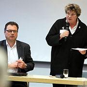 Volker Meißner, Ökumene-Referent im Bistum Essen, und Oberkirchenrätin Barbara Rudolph.