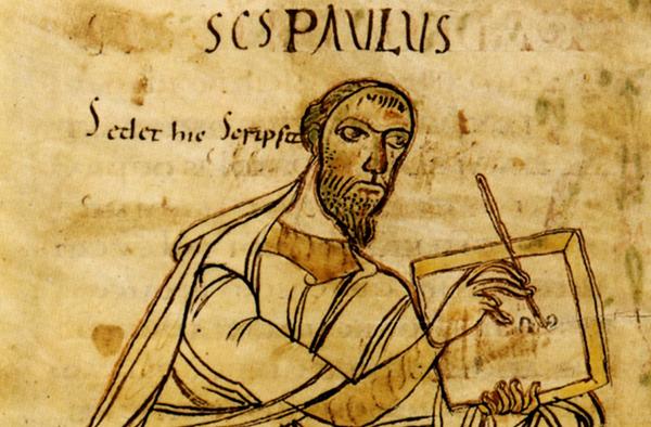 Schreibender Apostel Paulus: Aus einer Handschrift der Paulusbriefe, frühes 9. Jahrhundert. Württembergische Landesbibliothek Stuttgart, Foto: commons.wikimedia.org