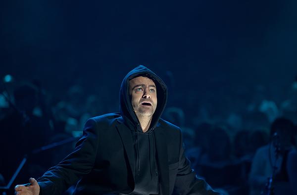 Frank Winkels als 'Luther' bei der Uraufführung des Pop-Oratoriums am Reformationstag 2015.