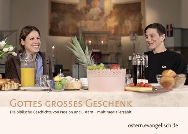 Werbepostkarte für die Multimediastory zu Passion und Ostern.