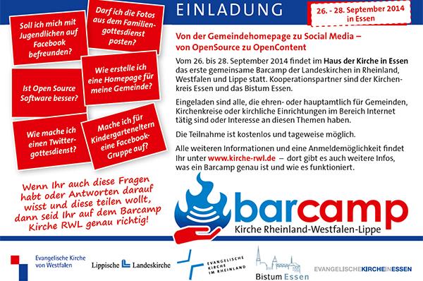 Einladung zum Barcamp 2014 in Essen.