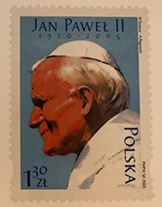 Erster Papst aus Polen: Die Briefmarke erschien wenige Tage nach seinem Tod am 2. April 2005.