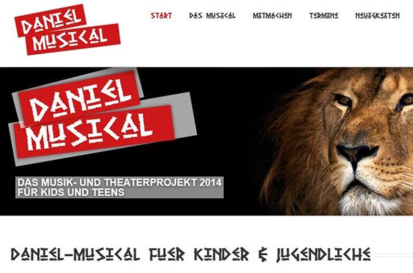 Mit Löwe: Ansicht der Website zum Musicalprojekt 'Daniel'.