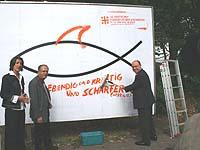 Hi Fisch: Generalsekretärin Dr. Ellen Ueberschär, Präses Nikolaus Schneider (r.) und Kirchentagspräsident Dr. Reinhard Höppner.