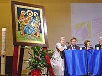 Podium bei der 3. Europäischen Ökumenischen Versammlung in Hermannstadt (Sibiu) in Rumänien.