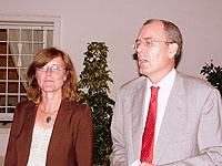 Rita Kühn, eine der Verantwortlichen der 10. Europäischen Asylrechtstagung, und der ständige Vertreter der Botschaft, Dr. Fischbach, in Rabat
