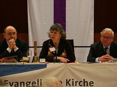 v.l.: Präses Nikolaus Schneider, Vizepräses Petra Bosse-Huber, Vizepräsident Christian Drägert