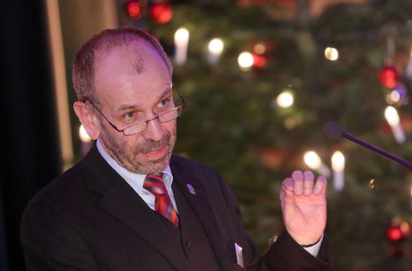 'Wir rechnen mit Gott': Präses Manfred Rekowski beim Jahrespresseabend.