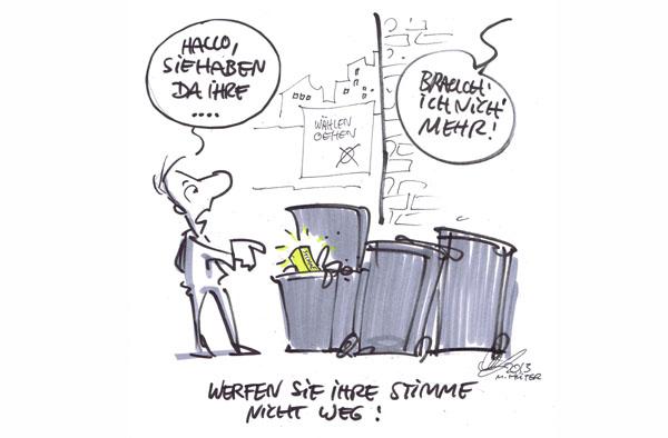 Wählen gehen! Cartoon von Michael Hüter zur Bundestagswahl 2013.