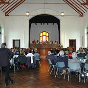 Podiumsdiskussion im Gemeindehaus der Erlöserkirche in Bad Godesberg.