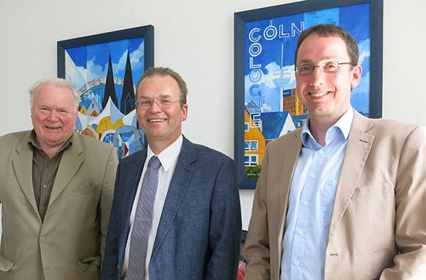 Alt-Präses Manfred Kock (v.l.), Superintendent Dr. Bernhard Seiger und Dr. Martin Bock bei der Vorstellung der Kölner Aktivitäten zum Reformationsjubiläum.