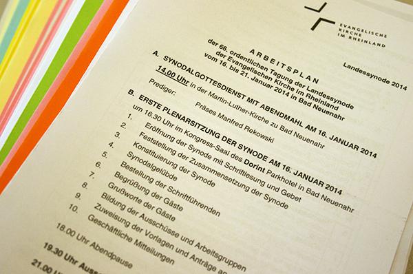 Der Arbeitsplan und die weiteren Unterlagen zur Landessynode 2014.