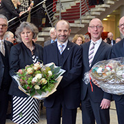 Petra Bosse-Huber mit dem Kölner Polizeipräsidenten Wolfgang Albers (v.l.), dem Präses, Diakoniechef Dr. Uwe Becker sowie Dr. Arne Kupke aus Westfalen.