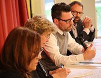 Podium mit Kouloud Daibes (v.l.), Barbara Rudolph, Torsten Reibold und René Wildangel.