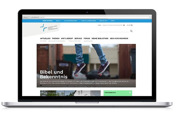 Screenshot des neuen Intranets der rheinischen Kirche.