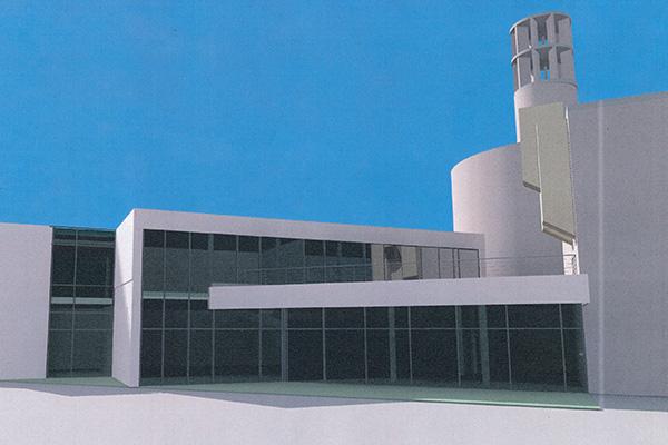 Modell vom geplanten Gemeinde- und Integrationszentrum der koptischen Gemeinde in Düsseldorf-Heerdt.