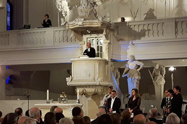 Beim Festgottesdienst in der Saarbrücker Ludwigskirche hielt der rheinische Präses Manfred Rekowski die Predigt.