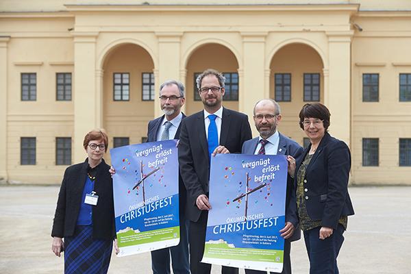 Laden ein zum Ökumenischen Christusfest in Koblenz: Brigitte Schmutzler (v.l.), Rolf Stahl, Jochen Wagner, Manfred Rekowski und Anna Maria Schuster.