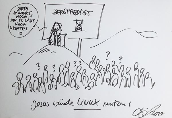 Jesus würde Linux nutzen: Diese These von Ulrich Berens bei der Tagung zu digitaler Souveränität - im Cartoon von Michael Hüter festgehalten.
