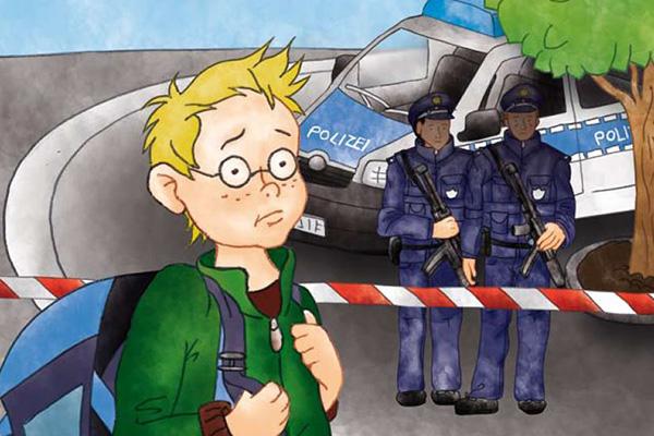 Buch für Kinder: Auschnitt des Covers 'Ein Terreranschlag macht Jan Angst'.