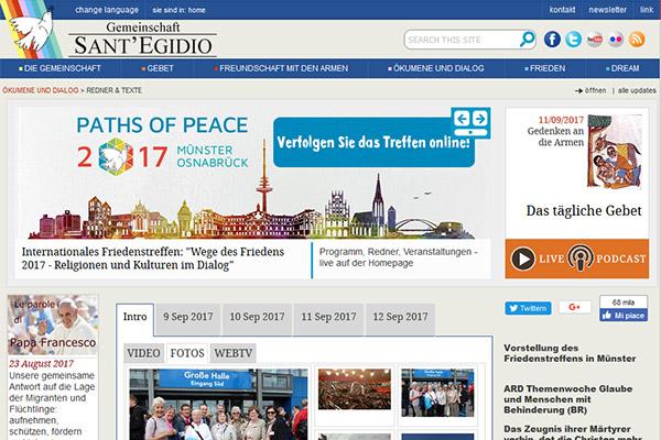 Screenshot (Ausschnitt) der Website der Gemeinschaft Sant'Egidio.