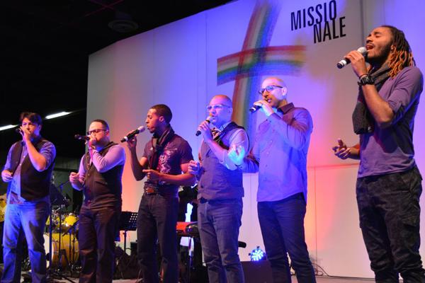 Die A-Capella-Band 'Undivided' war aus Miami nach Köln gereist.