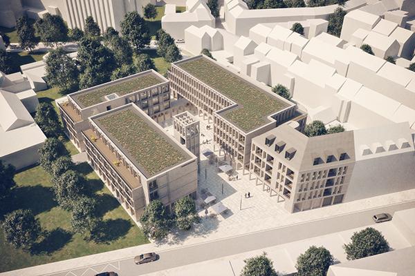 """Das Modell des """"Campus Kartause"""" zeigt die u-förmige Lage der Neubauten am Kartäuserwall."""
