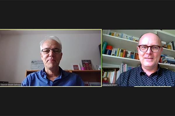 Interview per Videomeeting: der Leitende Landespolizeipfarrer Dietrich Bredt-Dehnen und Redakteur Ekkehard Rüger.