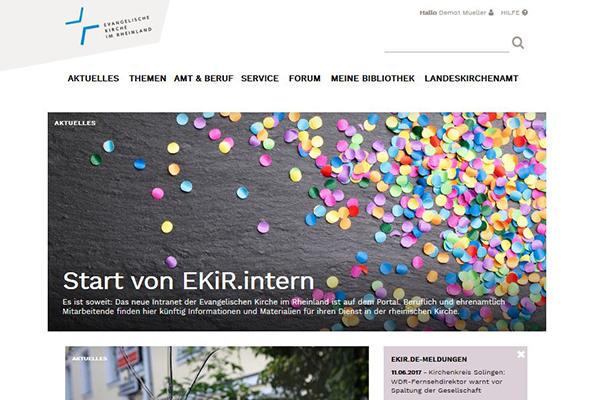 Screenshot von der neuen Intranetseite EKiR.intern