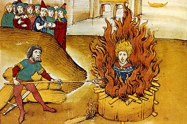 Als 'Ketzer' verbrannt: Jan Hus starb vor 600 Jahren. Abbildung: Spiezer Chronik 1485 / commons.wikimedia.org