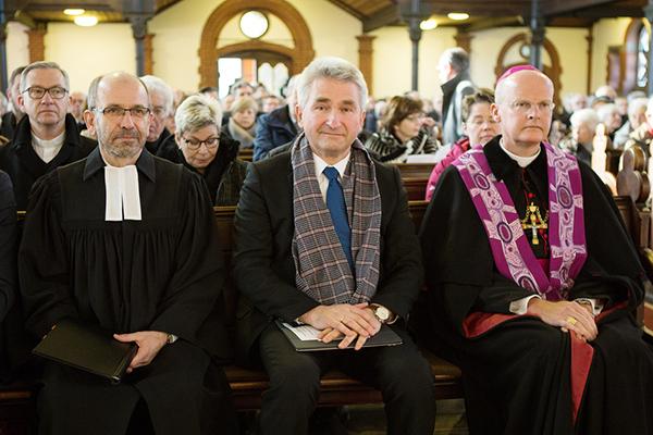 Präses Rekowski, Minister Pinkwart und Bischof Overbeck beim Sozialpolitischen Aschermittwoch 2018. Foto: Bistum Essen / Nicole Cronauge