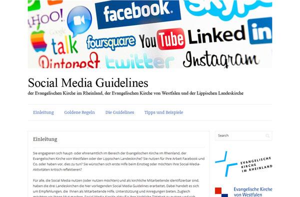Screenshot der Website smg-rwl.de, auf der die Social Media Guidelines präsentiert werden.