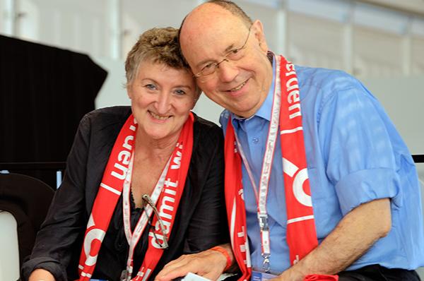 Anne und Nikolaus Schneider beim Kirchentag in Stuttgart Anfang Juni, wo sie u.a. eine Dialogbibelarbeit gehalten haben. epd-Foto Norbert Neetz