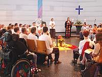 Ehrenamtspreis für den Gottesdienst mit Menschen mit Behinderung in Essen - hier beim Kirchentag im Juni in Köln.