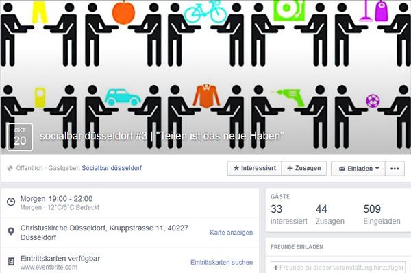 Screenshot von der Facebookseite für die Socialbar in Düsseldorf. socialbar.de