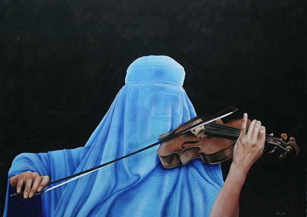 Peter Tutzauer: 'Unbekannter Künstler', Öl auf Leinwand, 100 x 150 cm, 2015. Foto: privat
